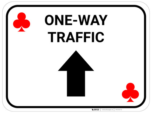 One Way Traffic Up Arrow Red Clubs - Rectangle Casino - Floor Sign