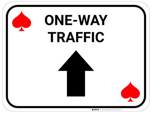 One Way Traffic Up Arrow Red Spades - Rectangle Casino - Floor Sign
