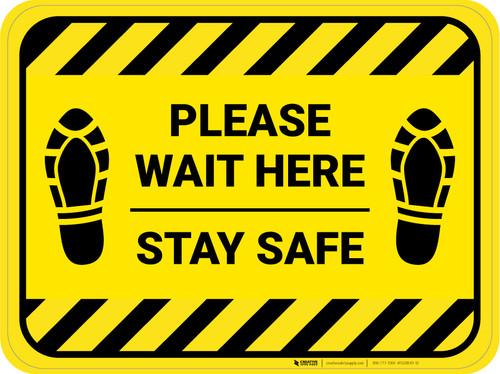 Please Wait Here Stay Safe Shoe Prints Hazard Stripes Rectangle - Floor Sign