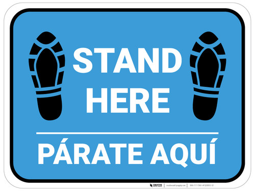 Stand Here Parate Aqui Shoe Prints Bilingual Blue Rectangle - Floor Sign