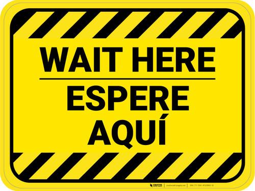 Wait Here Espere Aqui Bilingual Hazard Stripes Yellow Rectangle - Floor Sign