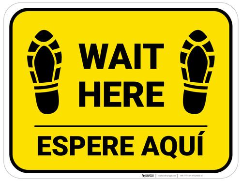 Wait Here Espere Aqui Shoe Prints Bilingual Yellow Rectangle - Floor Sign