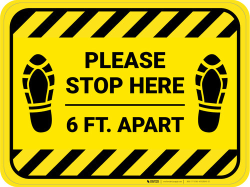 Please Stop Here 6 Ft Apart Shoe Prints Hazard Stripes Rectangle - Floor Sign
