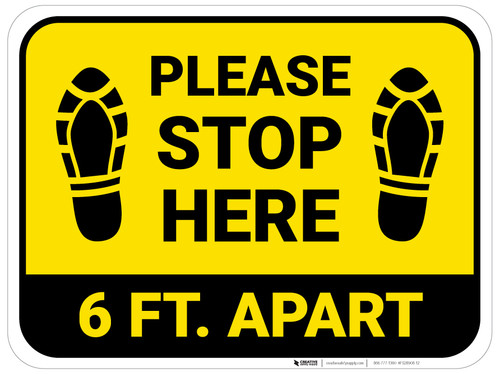 Please Stop Here 6 Ft Apart Shoe Prints Yellow Rectangle - Floor Sign