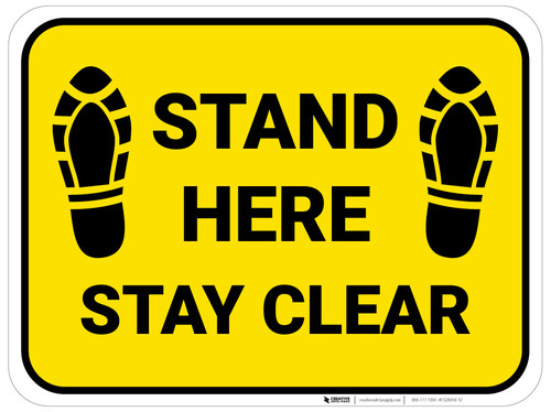 Stand Here Stay Clear Shoe Prints Yellow Rectangle - Floor Sign