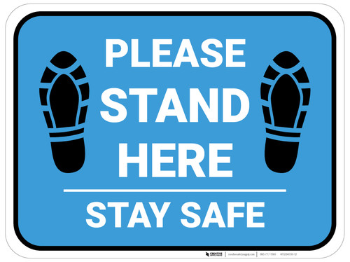 Please Stand Here Stay Safe Shoe Prints Blue Rectangle - Floor Sign