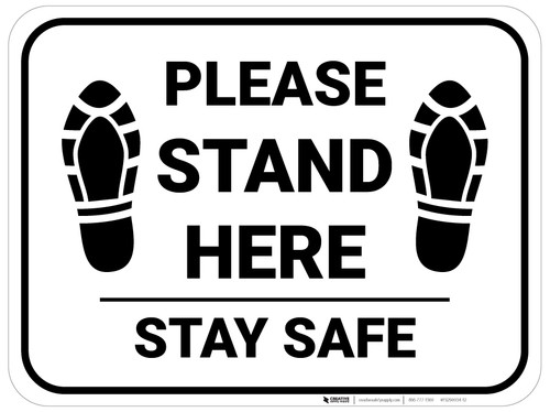 Please Stand Here Stay Safe Shoe Prints Rectangle - Floor Sign
