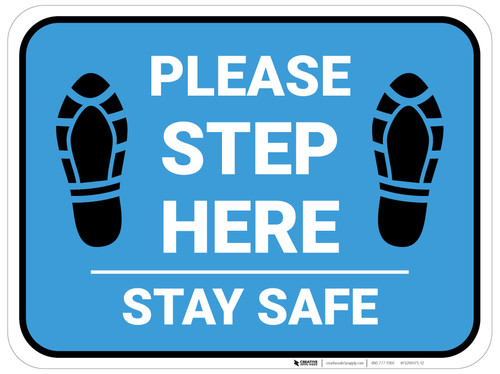 Please Step Here Stay Safe Shoe Prints Blue Rectangle - Floor Sign