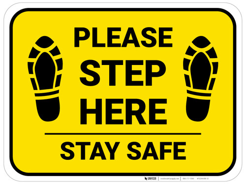 Please Step Here Stay Safe Shoe Prints Yellow Rectangle - Floor Sign