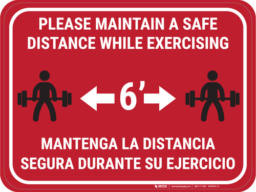 Maintain Safe Distance While Exercising Bilingual Red - Rectangular - Floor Sign