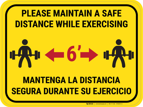 Maintain Safe Distance While Exercising Bilingual Yellow - Rectangular - Floor Sign