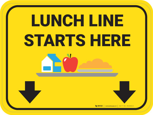 Lunch Line Starts Here Rectangle - Floor Sign