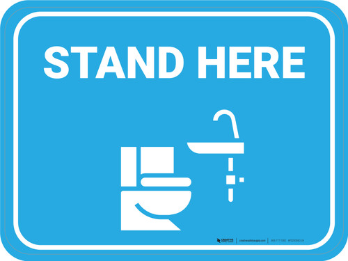 Stand Here Bathroom Icon Rectangle - Floor Sign