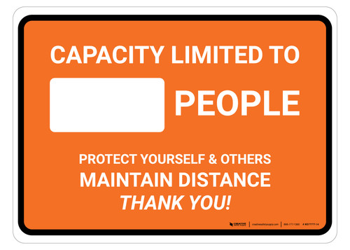 Capacity Limited Maintain Distance Orange Landscape - Floor Sign