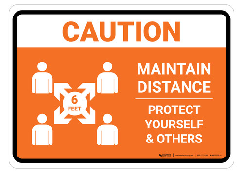 Caution Maintain Distance with Icon Orange Landscape - Floor Sign