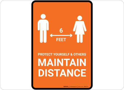 Protect Yourself And Others Maintain Distance with Icon Orange Portrait - Floor Sign