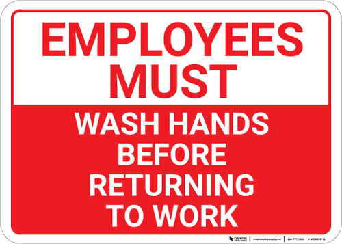 Employees Must Wash Hands Before Returning To Work Landscape - Wall Sign