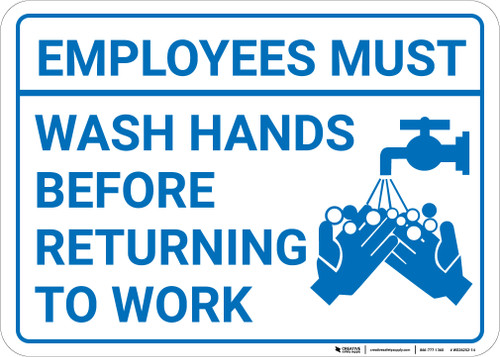 Employees Must Wash Hands Before Returning To Work - Landscape