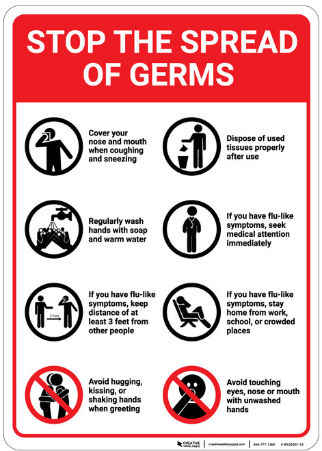 Stop The Spread Of Germs: Eight Rules with Icons Portrait - Wall Sign
