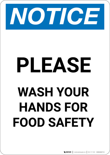 Notice: Please Wash Your Hands For Food Safety - Portrait
