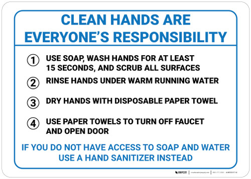 Clean Hands are Everyone's Responsibility - Wall Sign