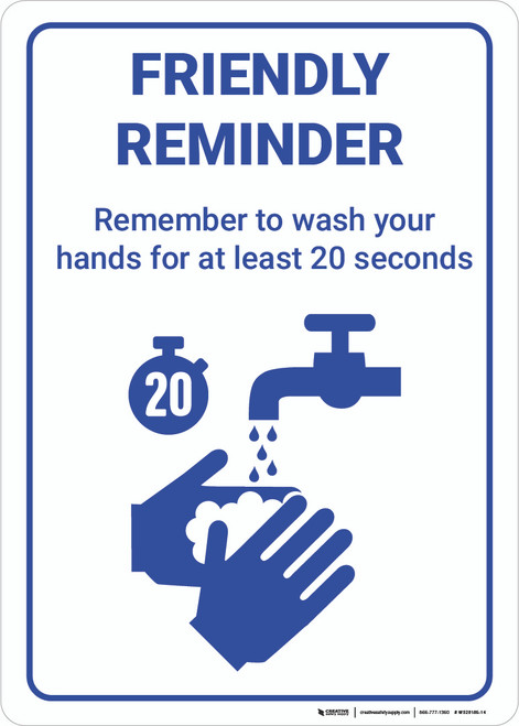 Friendly Reminder Hand Wash Method - Wall Sign