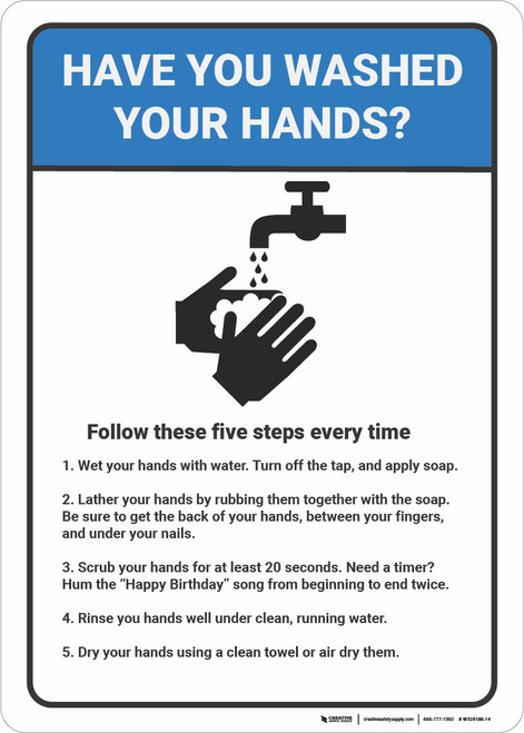 Have You Washed Your Hands - Follow Five Steps - Wall Sign