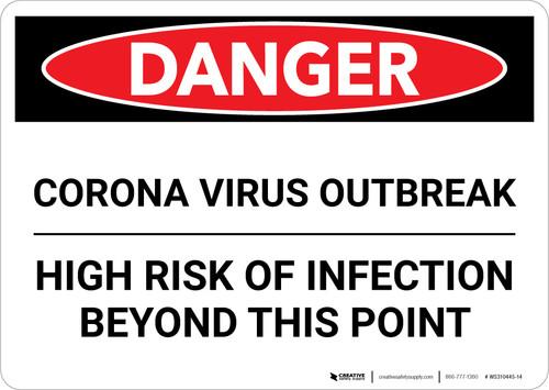 Danger: Corona Virus Outbreak Risk Of Infection Landscape - Wall Sign