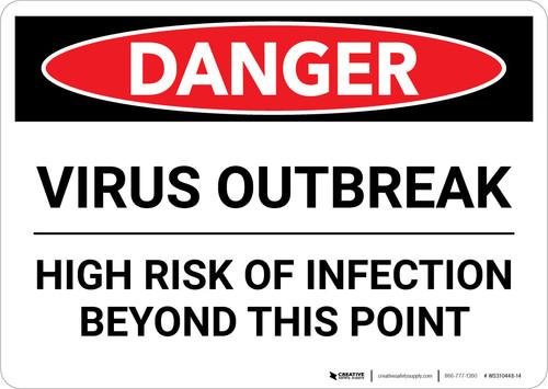 Danger: Virus Outbreak Risk Of Infection Landscape - Wall Sign