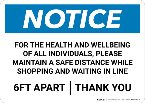 Notice: For Health and Wellbeing Maintain a Safe Distance ANSI Landscape - Wall Sign