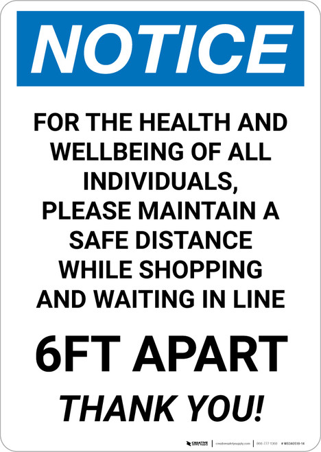 Notice: For Health and Wellbeing Maintain a Safe Distance ANSI Portrait - Wall Sign