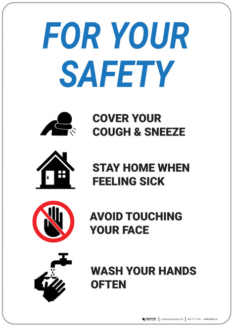 For Your Safety: Please Cover Your Cough Or Sneeze - Wall Sign