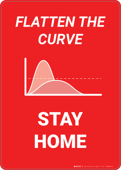 Flatten The Curve Stay Home - Wall Sign