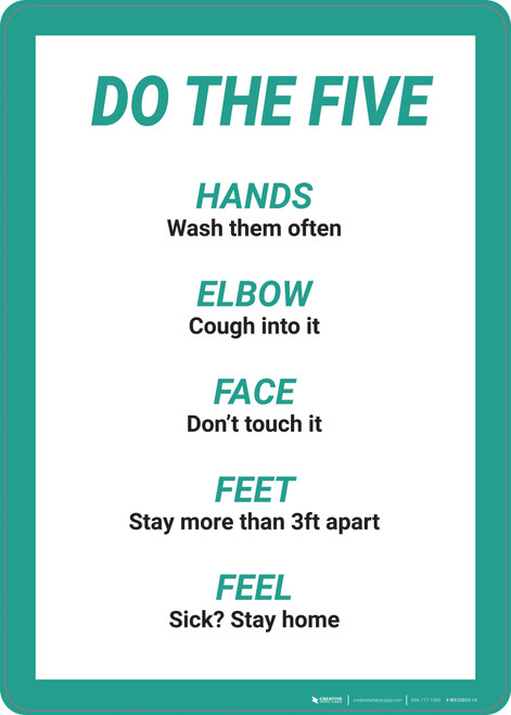 Do The Five: Hands Elbow Face Feet Feel - Wall Sign