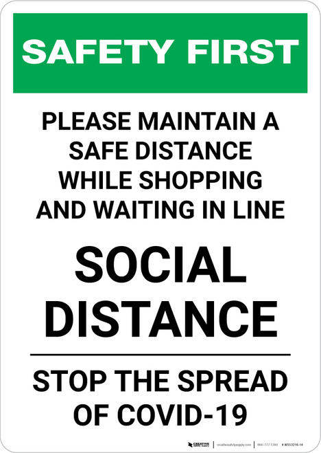 Safety First: Please Maintain Distance - Social Distance Portrait - Wall Sign