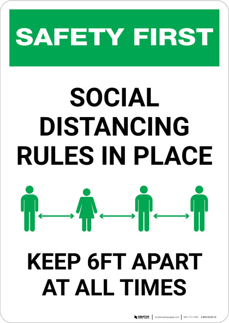 Safety First: Social Distancing Rules In Place Portrait - Wall Sign