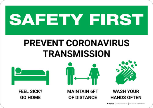 Safety First: Prevent Virus Transmission with Icons Landscape - Wall Sign