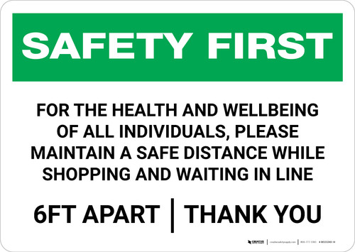 Safety First: For Health And Wellbeing Please Maintain a Safe Distance Landscape - Wall Sign