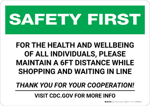 Safety First: For The Health And Wellbeing of Individuals Please Maintain Distance Landscape - Wall Sign