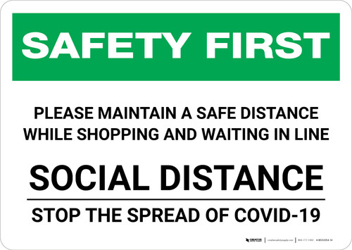 Safety First: Please Maintain Distance While Shopping - Social Distance Landscape - Wall Sign