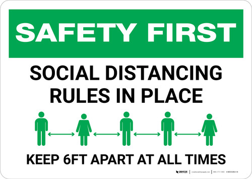 Safety First: Social Distancing Rules In Place Landscape - Wall Sign