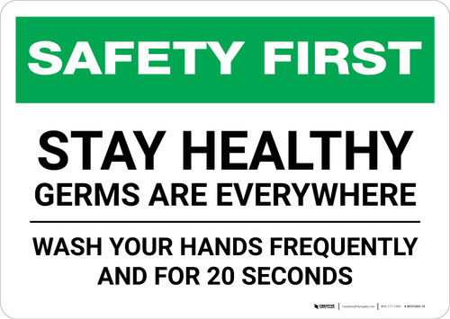 Safety First: Stay Healthy - Germs Are Everywhere Landscape - Wall Sign
