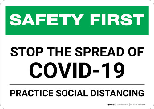 Safety First: Stop The Spread Of Covid-19 - Practice Social Distancing Landscape - Wall Sign