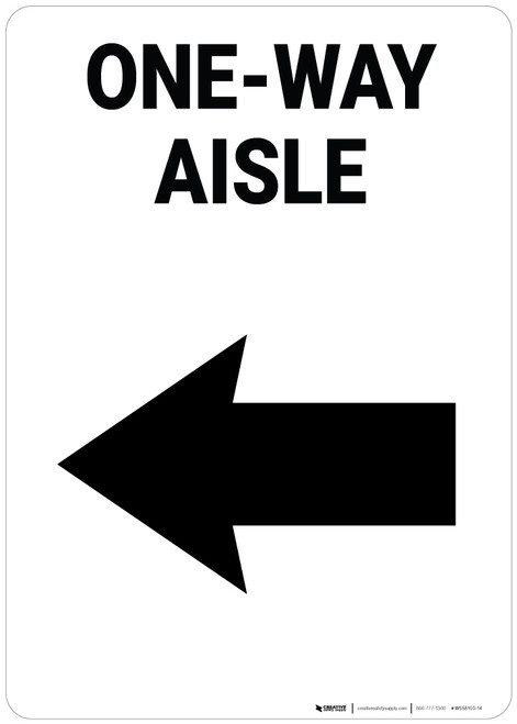One-Way Aisle Left Arrow Portrait - Wall Sign