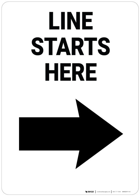 Line Starts Here Right Arrow Portrait - Wall Sign