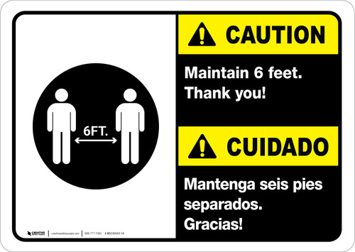 Caution: Maintain 6 Feet Bilingual with Icon ANSI Portrait - Wall Sign