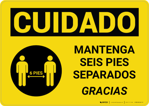 Caution: Maintain 6 Feet Bilingual Spanish with Icon Landscape - Wall Sign