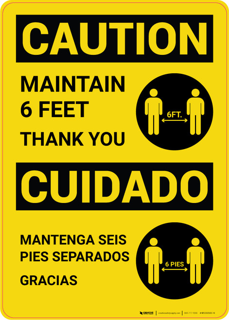 Caution: Maintain 6 Feet with Icon Bilingual Spanish Portrait - Wall Sign