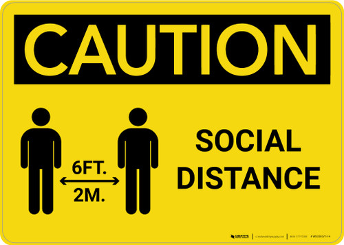 Caution: Social Distance 6 Ft/2m with Icon Landscape - Wall Sign
