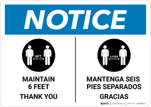Notice: Maintain 6 Feet - Thank You Bilingual with Icon Landscape - Wall Sign